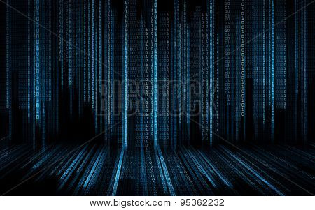 technology, future, programming and matrix - black blue binary system code background