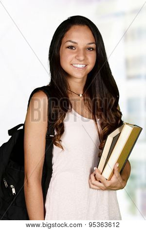 Student going to class at her high school
