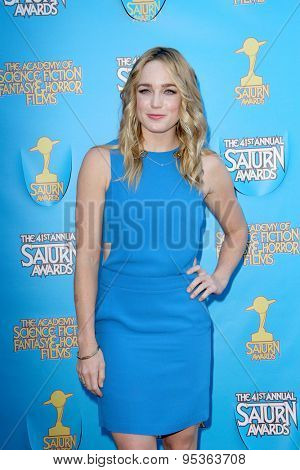 BURBANK - JUNE 25: Caity Lotz arrives at the 41st Annual Saturn Awards on Thursday, June 25, 2015 at the Castaway Restaurant in Burbank, CA.