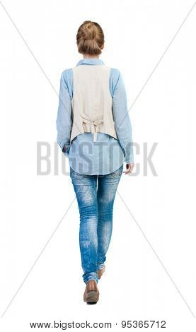 back view of walking  woman. beautiful girl in motion.  backside view of person.  Rear view people collection. Isolated over white background. Girl in sleeveless to go the distance.