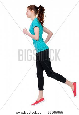 back view of running sport woman. beautiful girl in motion. backside view of person.  Rear view people  collection. Isolated over white background. Sport girl in black tights running jogging.