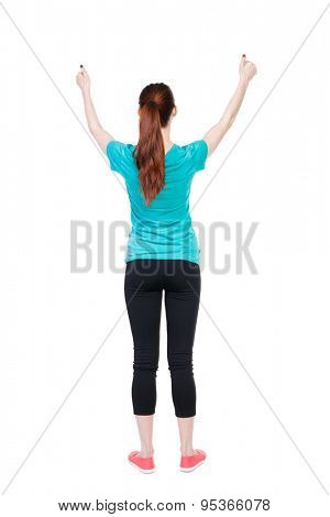 Back view of  woman thumbs up. Rear view people collection. backside view of person. Isolated over white background. Sport girl shows two hands thumbs up.