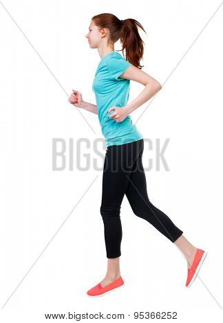 back view of running sport woman. beautiful girl in motion. backside view of person.  Rear view people  collection. Isolated over white background. Sport girl in black tights engaged in running.