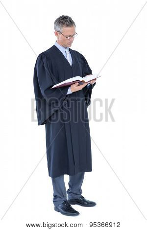 Happy handsome lawyer holding labor code on white background