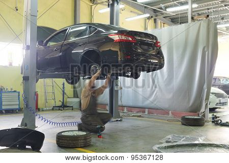 Serpuhov, Russia, June, 23, 2015: Cars in a dealer repair station in Serpuhov, Russia