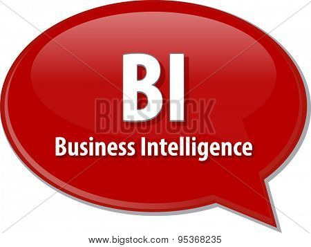 Speech bubble illustration of information technology acronym abbreviation term definition BI Business Intelligence