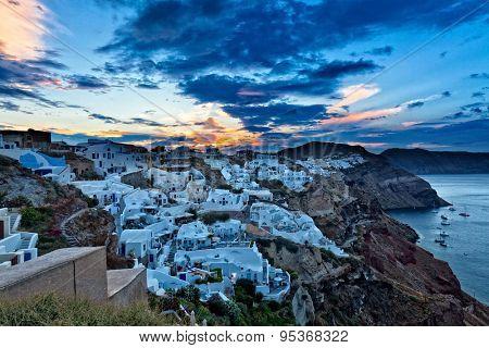oia at sunrise santorini island greece