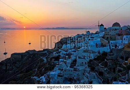 santorini island oia sunset view
