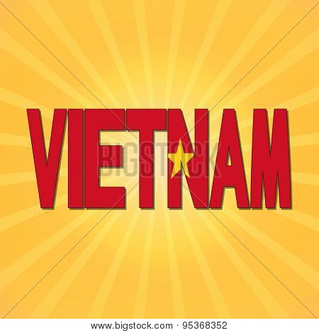 Vietnam flag text with sunburst illustration