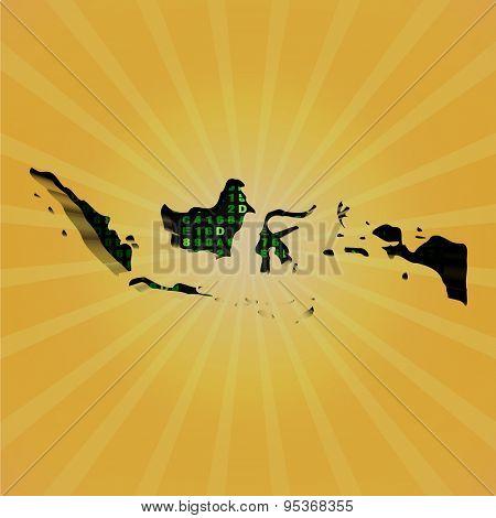 Indonesia sunburst map with hex code illustration