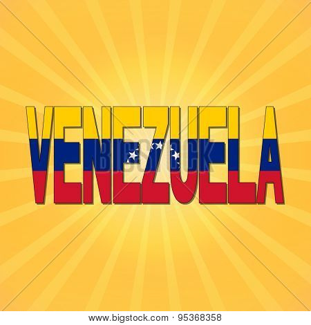 Venezuela flag text with sunburst illustration