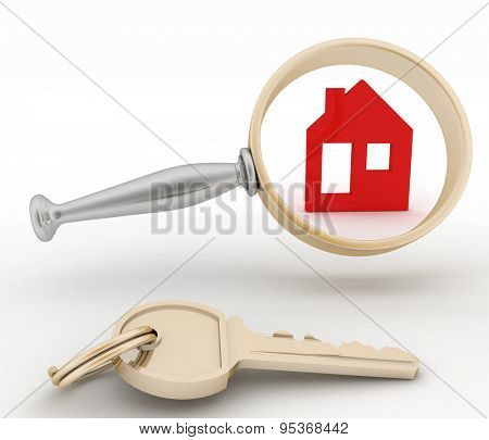 Magnifying glass inspects a home. Concept of search of house for residence, real estate investment, inspection.