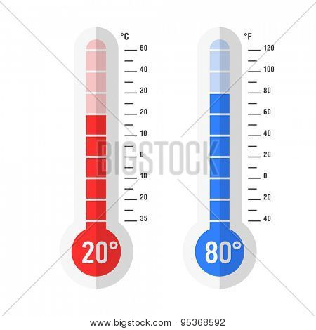 Flat style Celsius and Fahrenheit thermometers. Vector