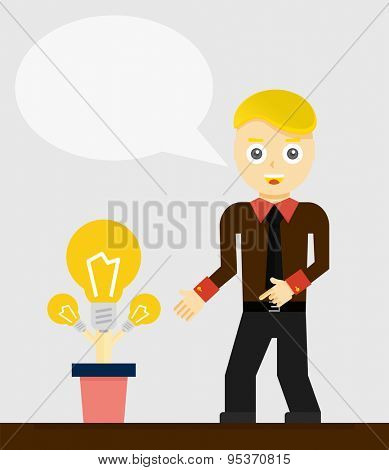Young businessman talking about his new idea. Growing light bulbs, startup concept. Vector flat design