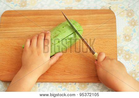 Child help preparing food. Eleemnt of design.