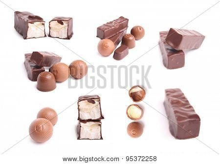 Chocolate sweet set on white background