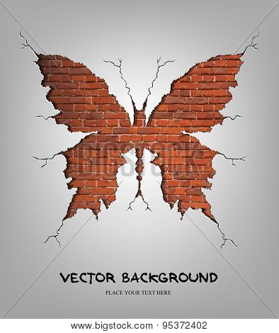 Vector illustration of brick damage butterfly. Eps10