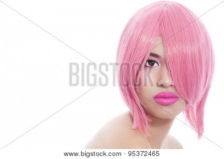 Young beautiful asian girl with stylish pink bob haircut over white background
