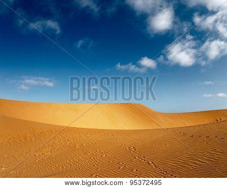 Desert with dunes at sunny day. Mui Ne, Vietnam