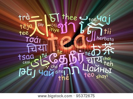Background concept wordcloud multilanguage international many language illustration of tea glowing light