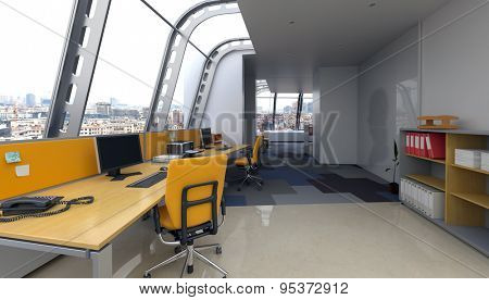 Modern office interior with curved glass windows in a contemporary architectural design and wooden workstations with computers in a minimalist decor. 3d Rendering
