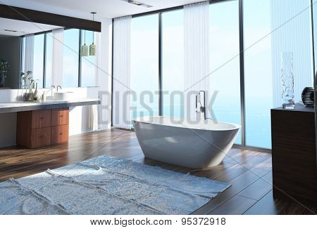 Modern waterfront bathroom interior decor with a freestanding boat-shaped bathtub on a wooden parquet floor in front of floor-to-ceiling windows overlooking the ocean. 3d Rendering