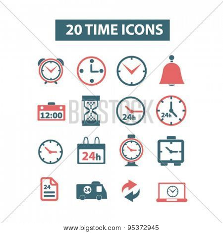time and clock isolated vector icons