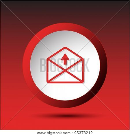 mail up arrow. Plastic button. Vector illustration.