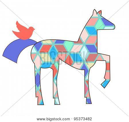 geometric horse and bird (remove clipping mask for pattern)