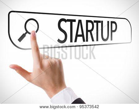Startup written in search bar on virtual screen