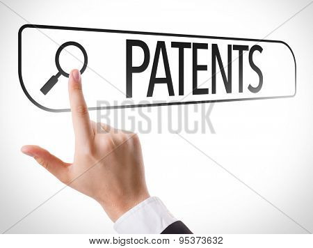 Patents written in search bar on virtual screen