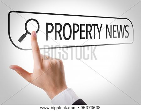 Property News written in search bar on virtual screen