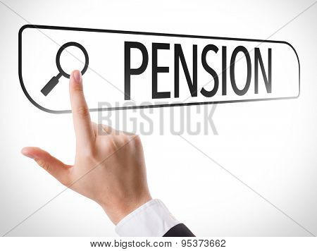 Pension written in search bar on virtual screen