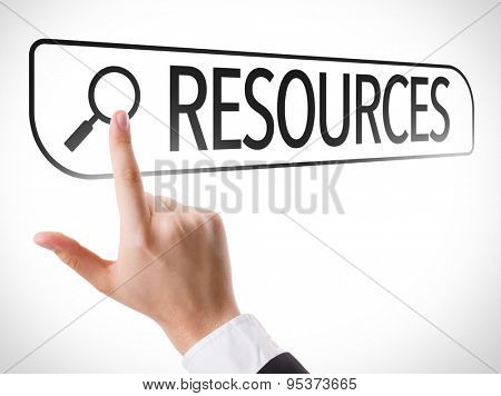 Resources written in search bar on virtual screen