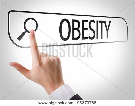 Obesity written in search bar on virtual screen