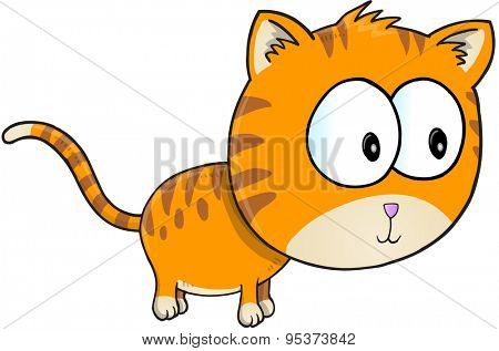 Cute Orange Cat Vector Illustration Art