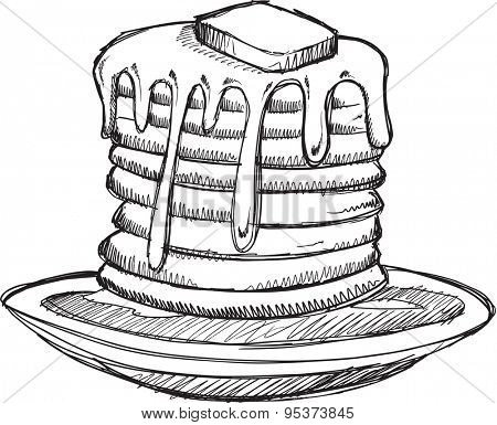 Sketch Doodle Pancakes Vector Illustration Art