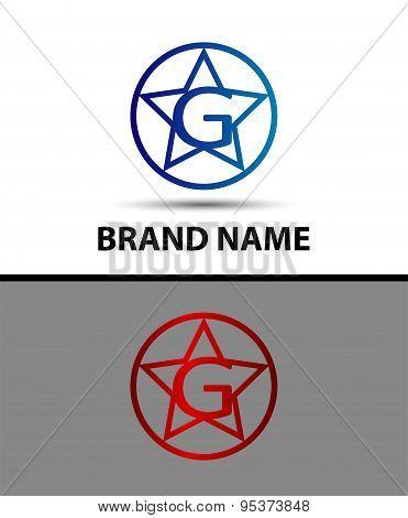 Vector elegant alphabet star element Letter g
