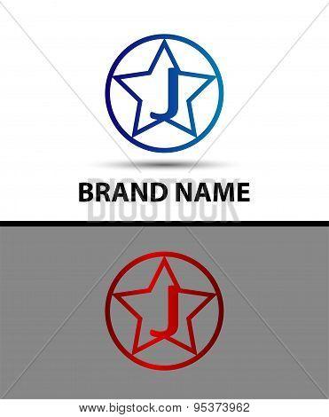 Vector elegant alphabet star element Letter j