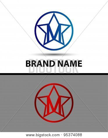 Alphabet icon M logo with star design vector template