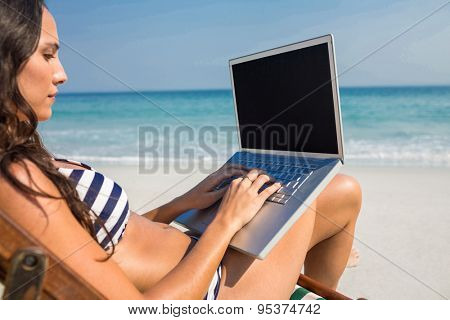 Pretty brunette using laptop on deck chair at the beach