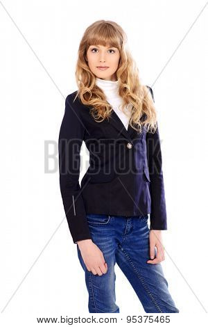 Beautiful student girl in a suit. Educational concept. Isolated over white.