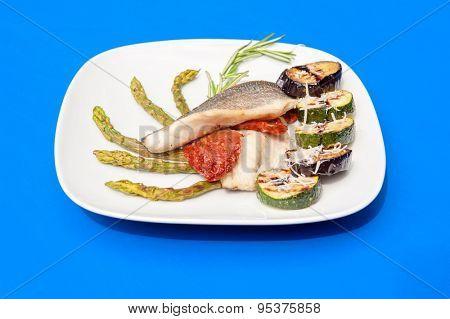 Seabass fillet with grilled vegetables