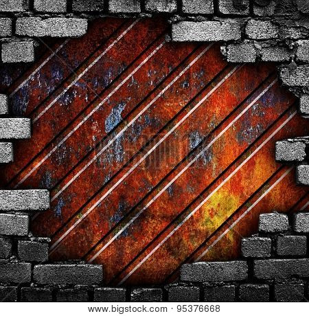 cracked brick wall with metal bar background
