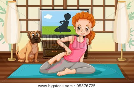Woman doing yoga on mat inside the room