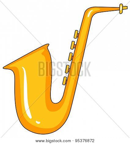 Golden saxophone in simple doodle line