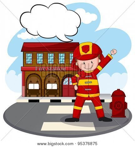 Fire fighter standing in front of fire station