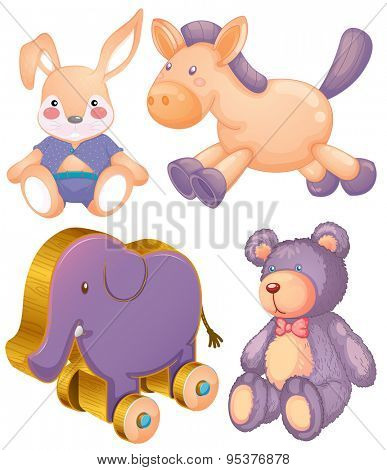 Stuffed animals and wooden elephant toy