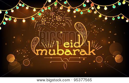 Golden text Eid Mubarak with colorful lights on firecrackers decorated shiny brown background, can be used as poster, banner or flyer design for Muslim community festival celebration.