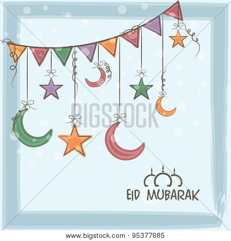 Eid Mubarak greeting card design decorated with hanging crescent moons and stars by bunting rope for Muslim community festival celebration.